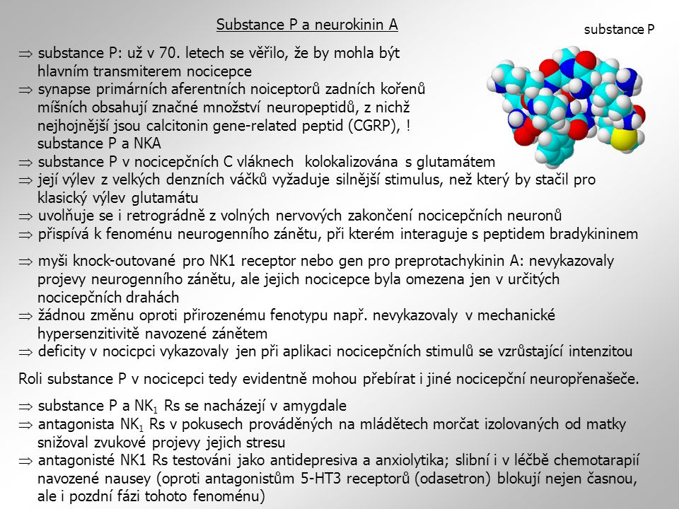 Substance P a neurokinin A  substance P: už v 70.