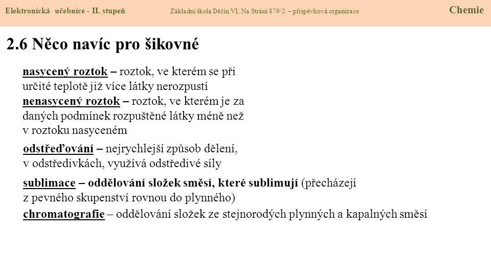 2.6 Něco navíc pro šikovné Elektronická učebnice - II. stupeň Základní škola Děčín VI, Na Stráni 879/2 – příspěvková organizace Chemie sublimace – odd