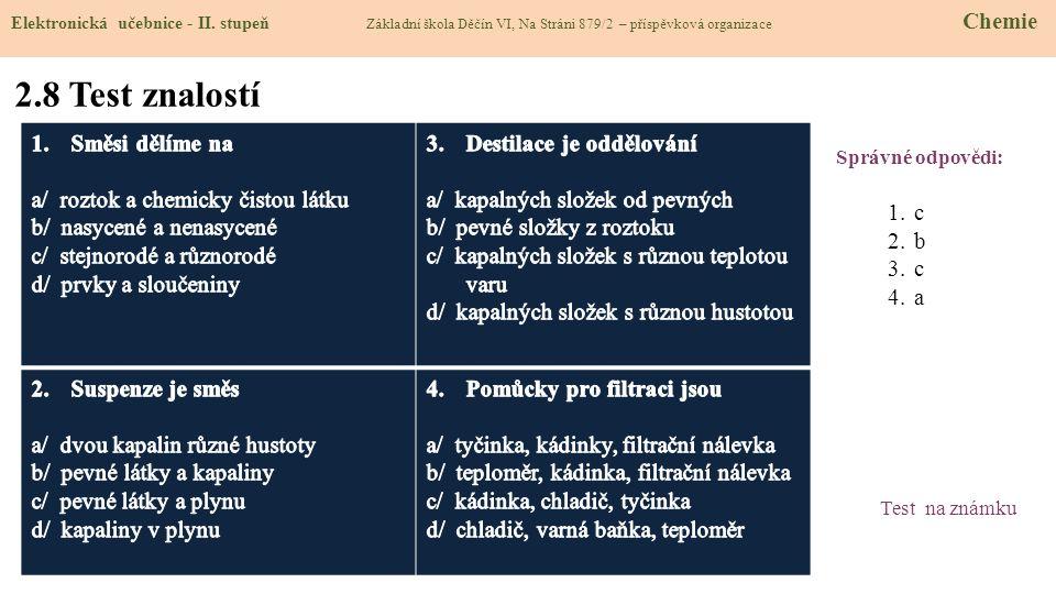 2.8 Test znalostí Správné odpovědi: 1.c 2.b 3.c 4.a Test na známku Elektronická učebnice - II. stupeň Základní škola Děčín VI, Na Stráni 879/2 – přísp