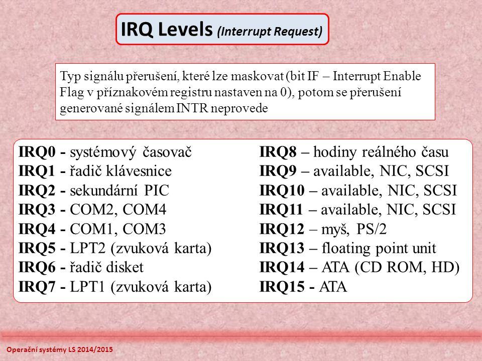 Operační systémy LS 2014/2015 IRQ0 - systémový časovačIRQ8 – hodiny reálného času IRQ1 - řadič klávesniceIRQ9 – available, NIC, SCSI IRQ2 - sekundární PICIRQ10 – available, NIC, SCSI IRQ3 - COM2, COM4IRQ11 – available, NIC, SCSI IRQ4 - COM1, COM3IRQ12 – myš, PS/2 IRQ5 - LPT2 (zvuková karta)IRQ13 – floating point unit IRQ6 - řadič disketIRQ14 – ATA (CD ROM, HD) IRQ7 - LPT1 (zvuková karta)IRQ15 - ATA Typ signálu přerušení, které lze maskovat (bit IF – Interrupt Enable Flag v příznakovém registru nastaven na 0), potom se přerušení generované signálem INTR neprovede IRQ Levels (Interrupt Request)