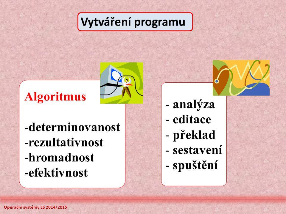 Operační systémy LS 2014/2015 Algoritmus -determinovanost -rezultativnost -hromadnost -efektivnost - analýza - editace - překlad - sestavení - spuštění Vytváření programu
