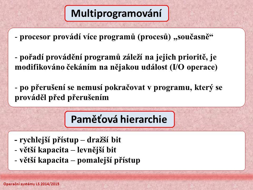 Operační systémy LS 2014/2015 Free In use Stack pointer Stack limit Stack base Blok rezervovaný pro zásobník - pouze jeden element může být dosažen, jedná se o poslední vkládaný záznam – vrchol zásobníku - parametry zásobníku (počáteční adresa, velikost, limit,...) jsou variabilní - Stack Pointer – obsahuje sdresu vrcholu zásobníku, adresa je inkrementována nebo dekrementována operacemi PUSH a POP - Stack Base – obsahuje počátek zásobníku ve vyhrazené oblasti - Stack Limit – obsahuje adresu povoleného vrcholu zásobníku, každá operace PUSH za touto hodnotou vyvolá chybové hlášení Typická organizace zásobníku