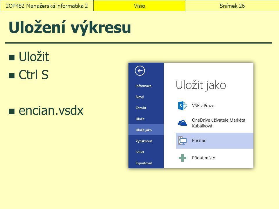 Uložení výkresu Uložit Ctrl S encian.vsdx VisioSnímek 262OP482 Manažerská informatika 2