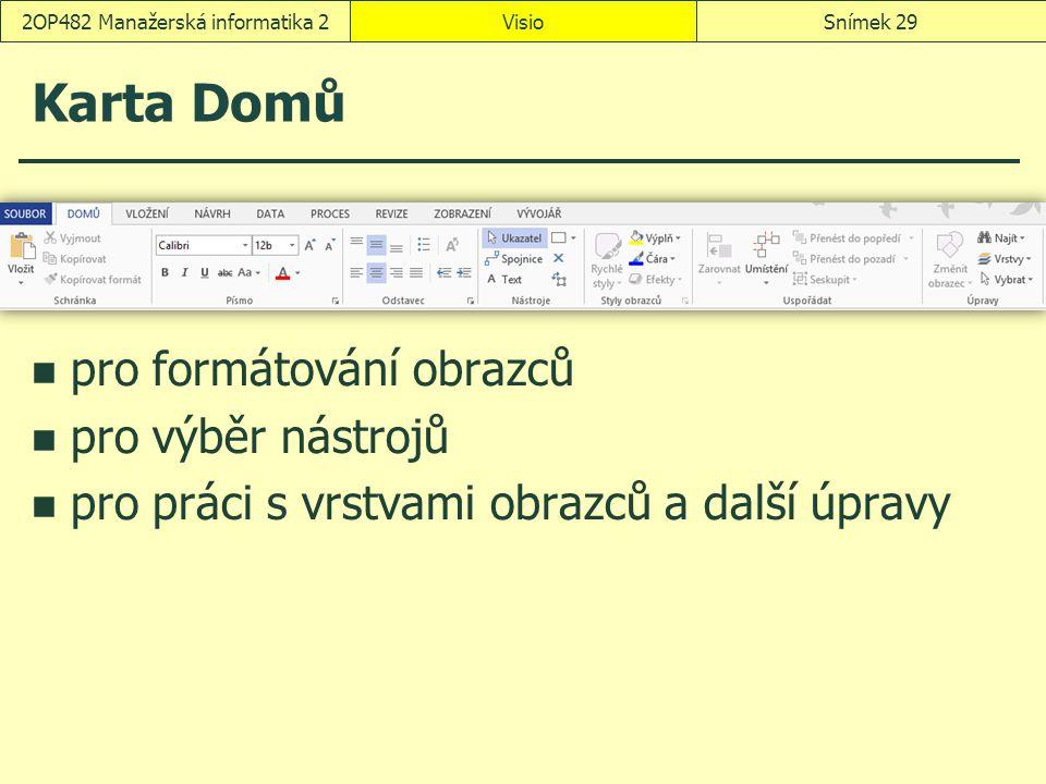 VisioSnímek 292OP482 Manažerská informatika 2 Karta Domů pro formátování obrazců pro výběr nástrojů pro práci s vrstvami obrazců a další úpravy