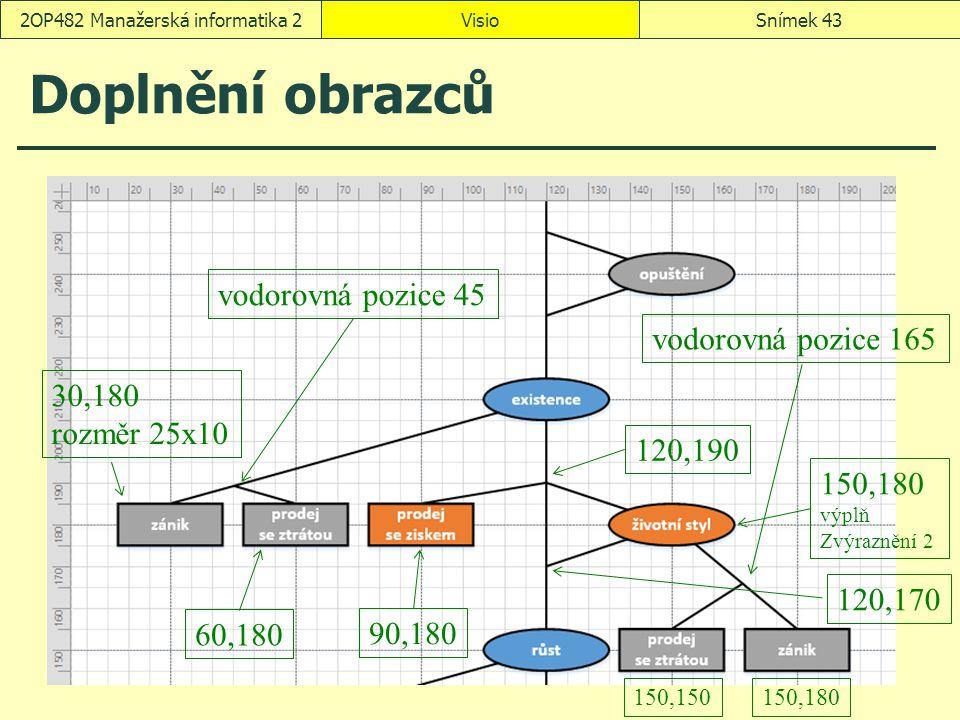 Doplnění obrazců VisioSnímek 432OP482 Manažerská informatika 2 30,180 rozměr 25x10 60,180 90,180 vodorovná pozice 45 120,190 120,170 150,180 výplň Zvý