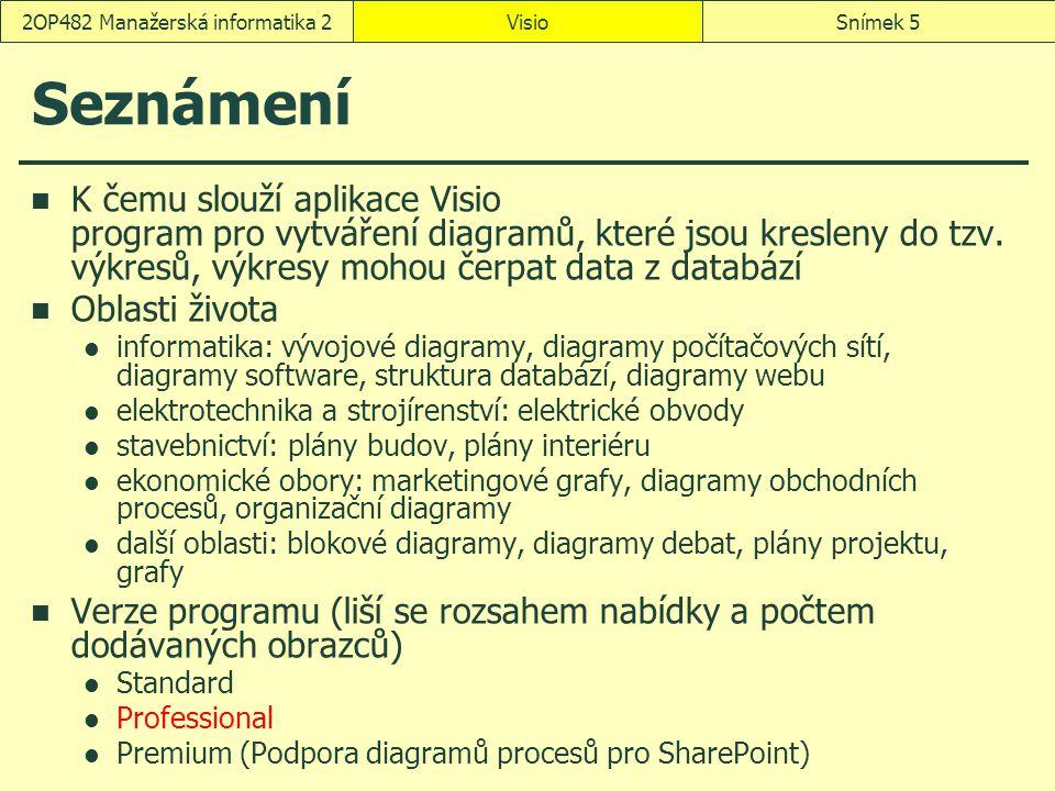 VisioSnímek 52OP482 Manažerská informatika 2 Seznámení K čemu slouží aplikace Visio program pro vytváření diagramů, které jsou kresleny do tzv. výkres