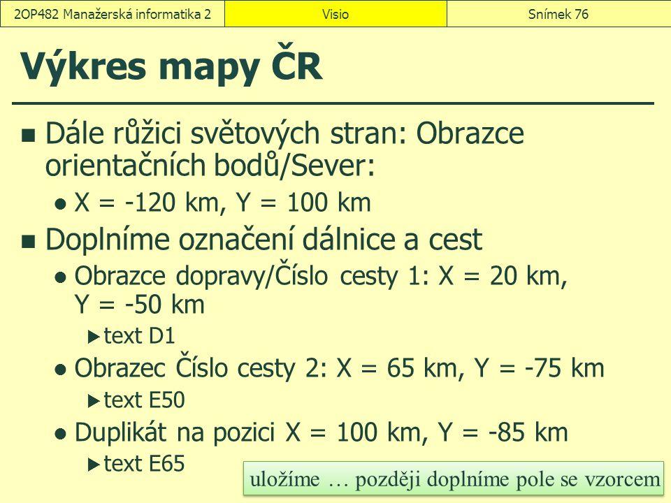 Výkres mapy ČR Dále růžici světových stran: Obrazce orientačních bodů/Sever: X = -120 km, Y = 100 km Doplníme označení dálnice a cest Obrazce dopravy/