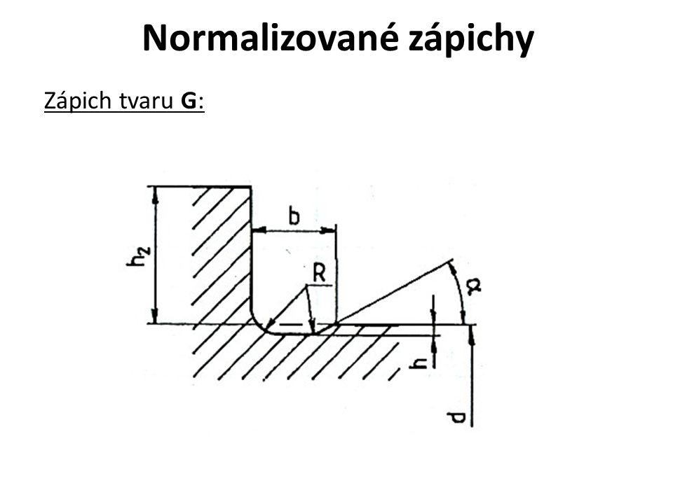 Normalizované zápichy Zápich tvaru G:
