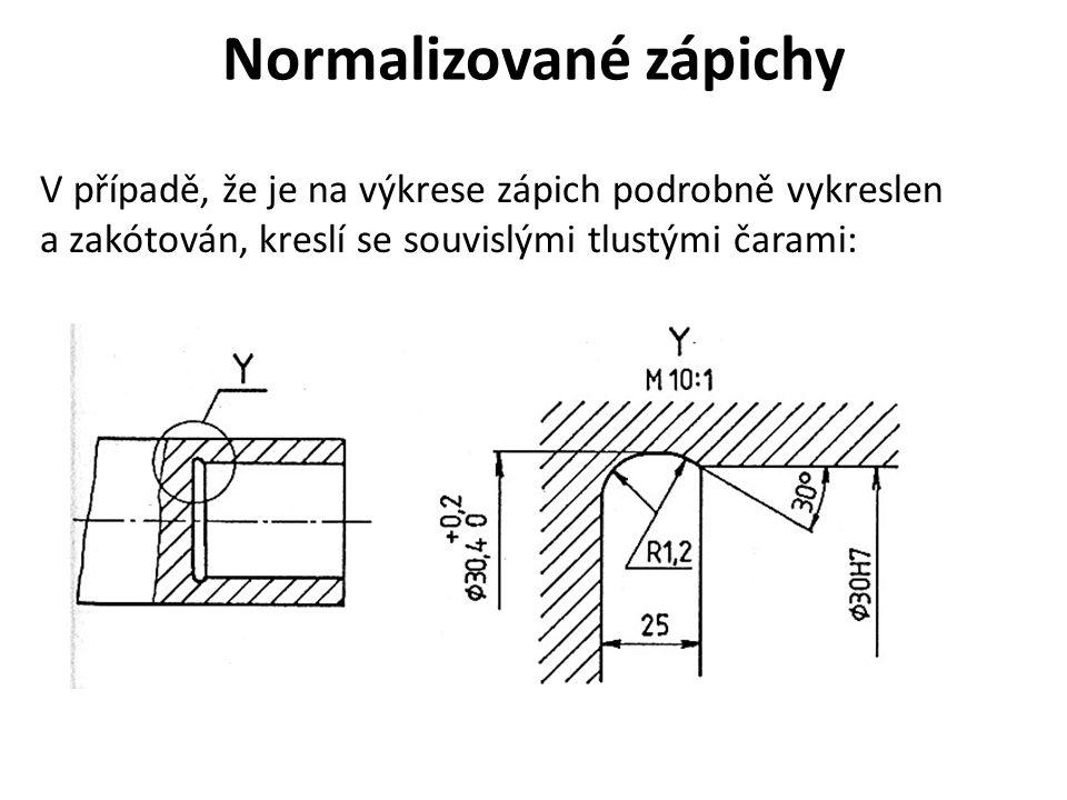 Normalizované zápichy V případě, že je na výkrese zápich podrobně vykreslen a zakótován, kreslí se souvislými tlustými čarami: