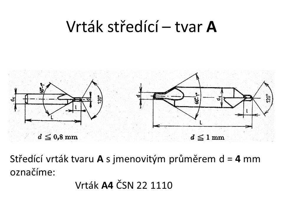 Vrták středící – tvar A Středící vrták tvaru A s jmenovitým průměrem d = 4 mm označíme: Vrták A4 ČSN 22 1110