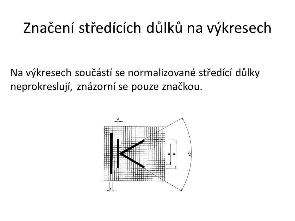 Značení středících důlků na výkresech Na výkresech součástí se normalizované středící důlky neprokreslují, znázorní se pouze značkou.