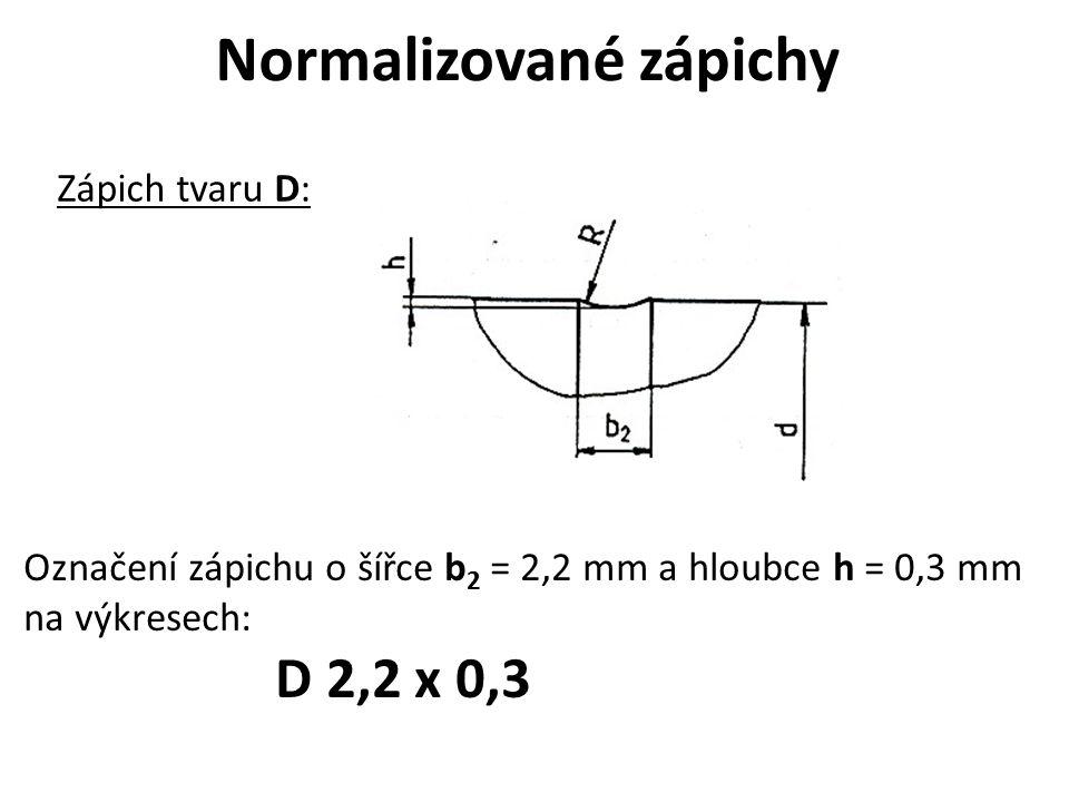 Normalizované zápichy Zápich tvaru D: Označení zápichu o šířce b 2 = 2,2 mm a hloubce h = 0,3 mm na výkresech: D 2,2 x 0,3
