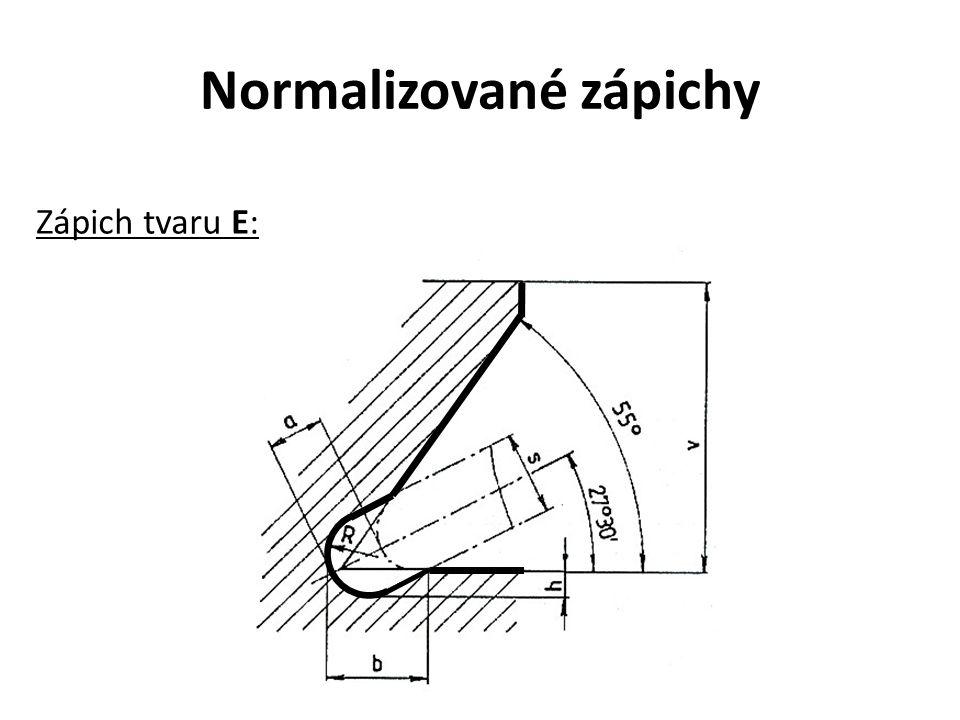 Normalizované zápichy Zápich tvaru E: