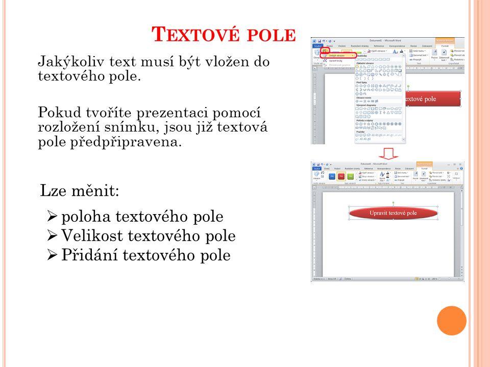 T EXTOVÉ POLE Jakýkoliv text musí být vložen do textového pole. Pokud tvoříte prezentaci pomocí rozložení snímku, jsou již textová pole předpřipravena