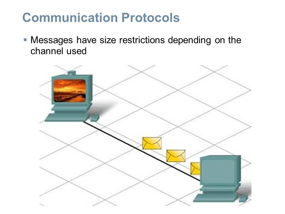 Communication Protocols  Messages have size restrictions depending on the channel used