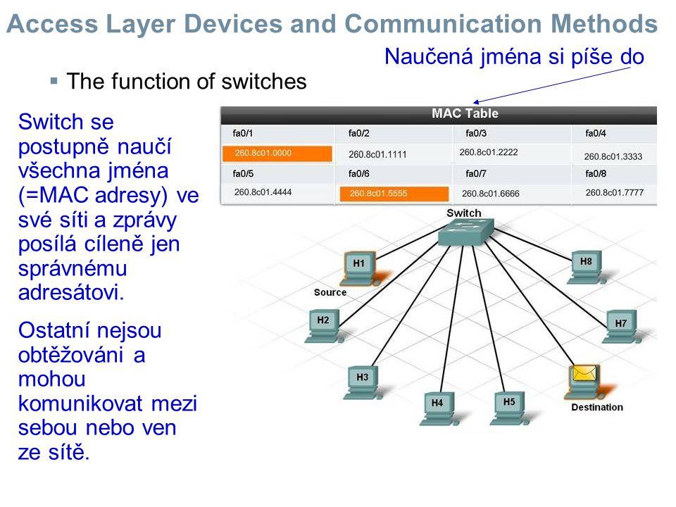  The function of switches Switch se postupně naučí všechna jména (=MAC adresy) ve své síti a zprávy posílá cíleně jen správnému adresátovi. Ostatní n