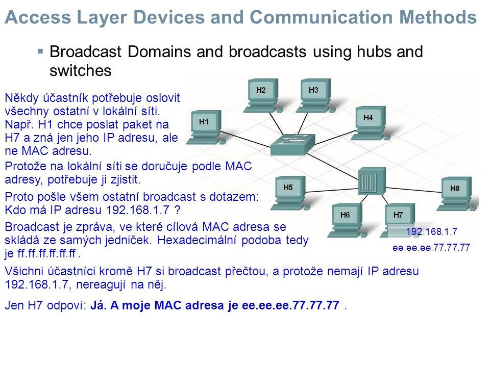  Broadcast Domains and broadcasts using hubs and switches Někdy účastník potřebuje oslovit všechny ostatní v lokální síti. Např. H1 chce poslat paket