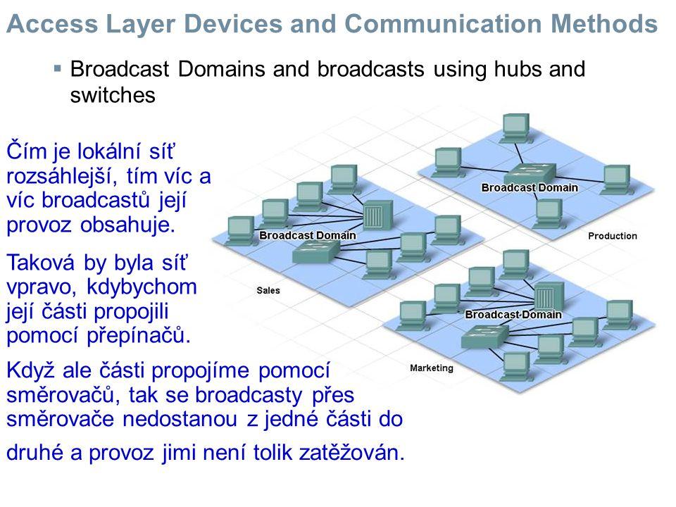  Broadcast Domains and broadcasts using hubs and switches Čím je lokální síť rozsáhlejší, tím víc a víc broadcastů její provoz obsahuje.