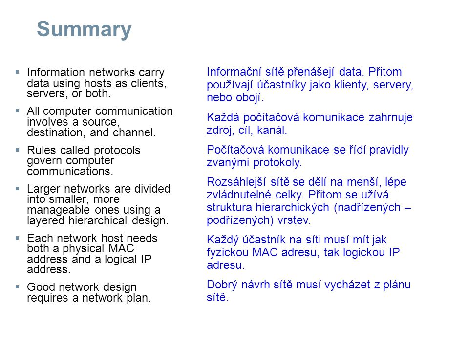 Summary  Information networks carry data using hosts as clients, servers, or both.  All computer communication involves a source, destination, and c