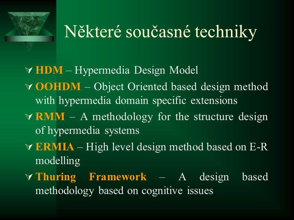Návrh webových sídel ve světě  Je podroben teoretickým studiím (od poloviny 90 let)  Navazuje na klasické techniky softwarového inženýrství (ERM, OO
