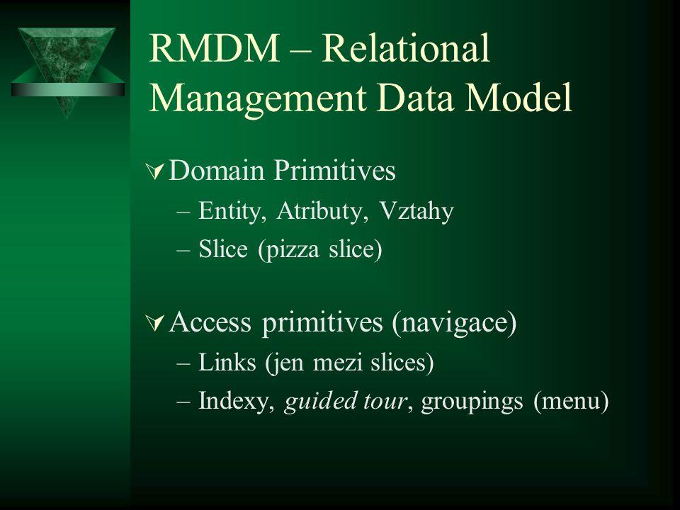 RMM – Relationship Management Methodology  1995 – Isakowitz, Stohr, Balasubramanian  Je použitelná i na hypermedia  Využívá ERM  Stanovuje 7 kroků vývoje aplikace  Definuje vlastní diagramy pro popis problému  Existuje pro ní CASE nástroj