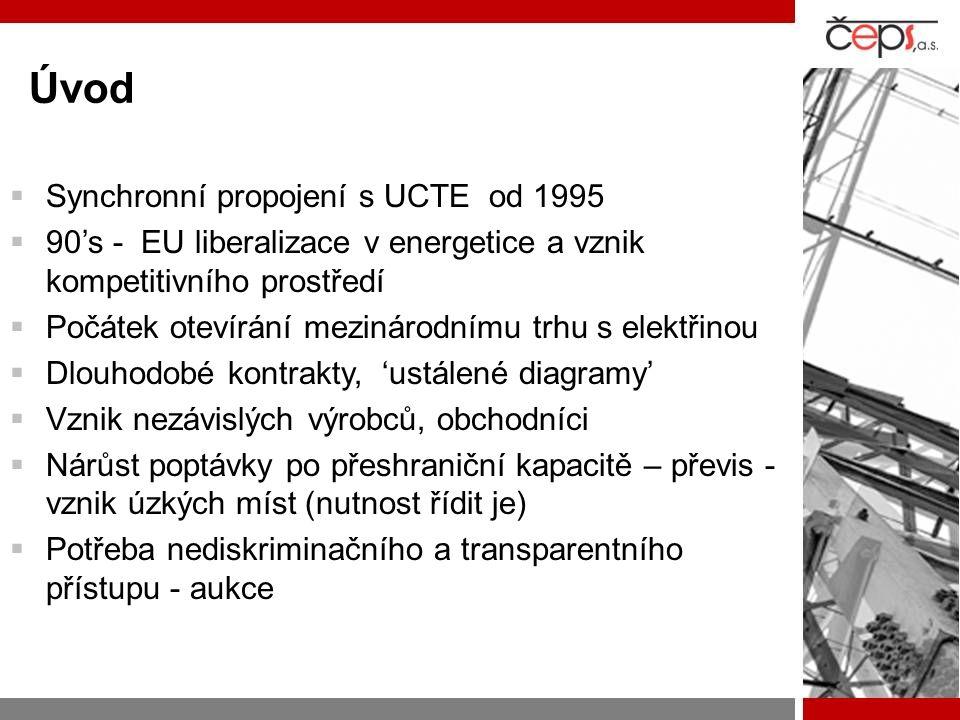 Úvod  Synchronní propojení s UCTE od 1995  90's - EU liberalizace v energetice a vznik kompetitivního prostředí  Počátek otevírání mezinárodnímu tr