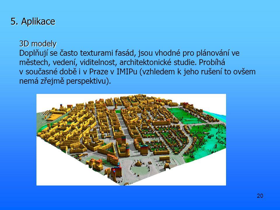 20 5. Aplikace 3D modely Doplňují se často texturami fasád, jsou vhodné pro plánování ve městech, vedení, viditelnost, architektonické studie. Probíhá