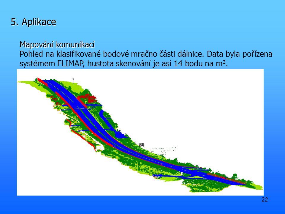 22 5. Aplikace Mapování komunikací Pohled na klasifikované bodové mračno části dálnice. Data byla pořízena systémem FLIMAP, hustota skenování je asi 1
