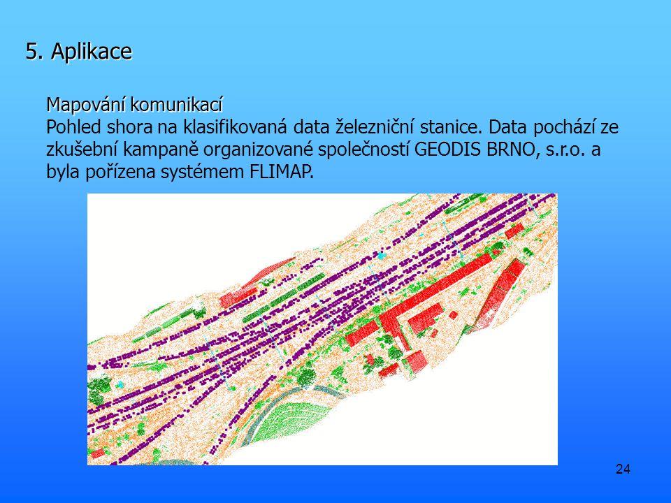 24 5. Aplikace Mapování komunikací Pohled shora na klasifikovaná data železniční stanice. Data pochází ze zkušební kampaně organizované společností GE