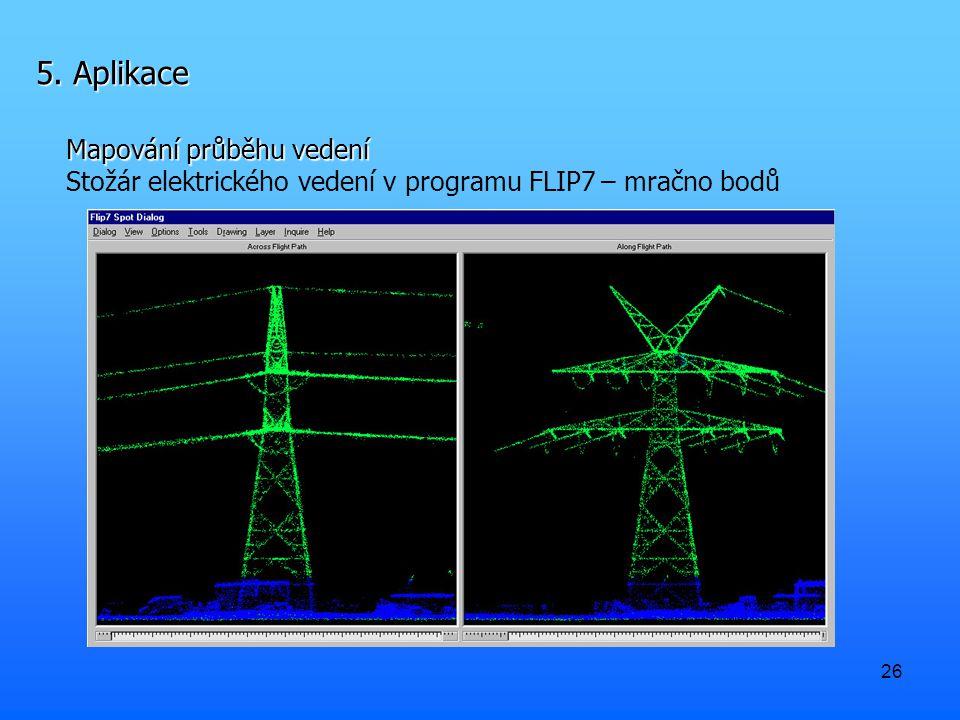 26 5. Aplikace Mapování průběhu vedení Stožár elektrického vedení v programu FLIP7 – mračno bodů