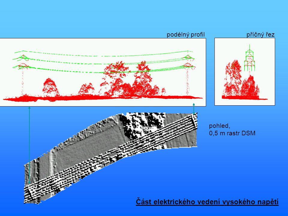příčný řezpodélný profil pohled, 0,5 m rastr DSM Část elektrického vedení vysokého napětí