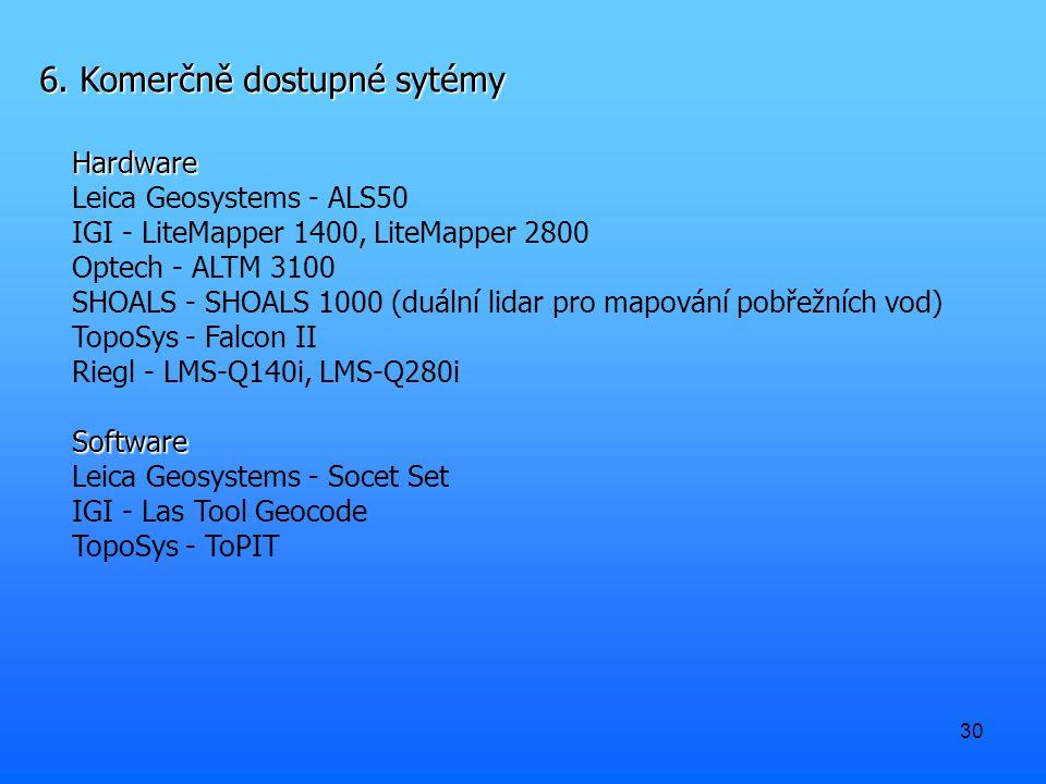 30 6. Komerčně dostupné sytémy Hardware Leica Geosystems - ALS50 IGI - LiteMapper 1400, LiteMapper 2800 Optech - ALTM 3100 SHOALS - SHOALS 1000 (duáln