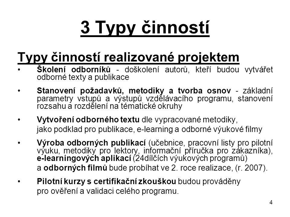 4 3 Typy činností Typy činností realizované projektem Školení odborníků - doškolení autorů, kteří budou vytvářet odborné texty a publikace Stanovení p