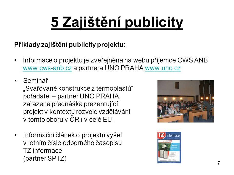 7 5 Zajištění publicity Příklady zajištění publicity projektu: Informace o projektu je zveřejněna na webu příjemce CWS ANB www.cws-anb.czwww.cws-anb.c