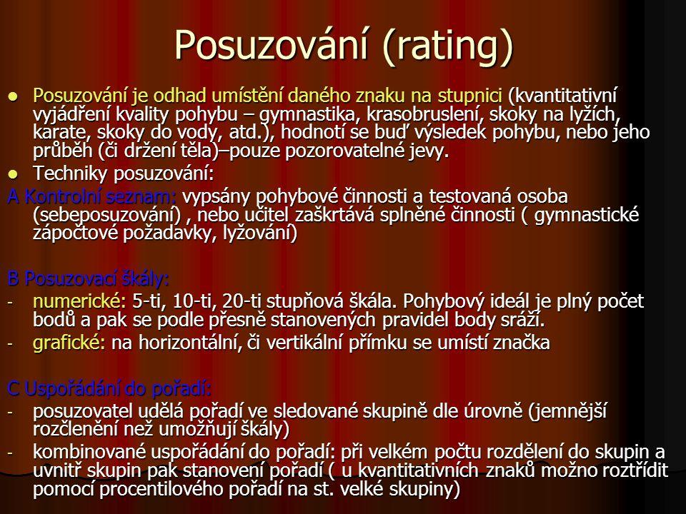 Posuzování (rating) Posuzování je odhad umístění daného znaku na stupnici (kvantitativní vyjádření kvality pohybu – gymnastika, krasobruslení, skoky n