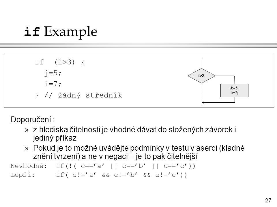 27 if Example Doporučení : »z hlediska čitelnosti je vhodné dávat do složených závorek i jediný příkaz »Pokud je to možné uvádějte podmínky v testu v aserci (kladné znění tvrzení) a ne v negaci – je to pak čitelnější Nevhodné: if(!( c=='a' || c=='b' || c=='c')) Lepší: if( c!='a' && c!='b' && c!='c')) If (i>3) { j=5; i=7; } // žádný středník i>3i>3 J:=5; i:=7;