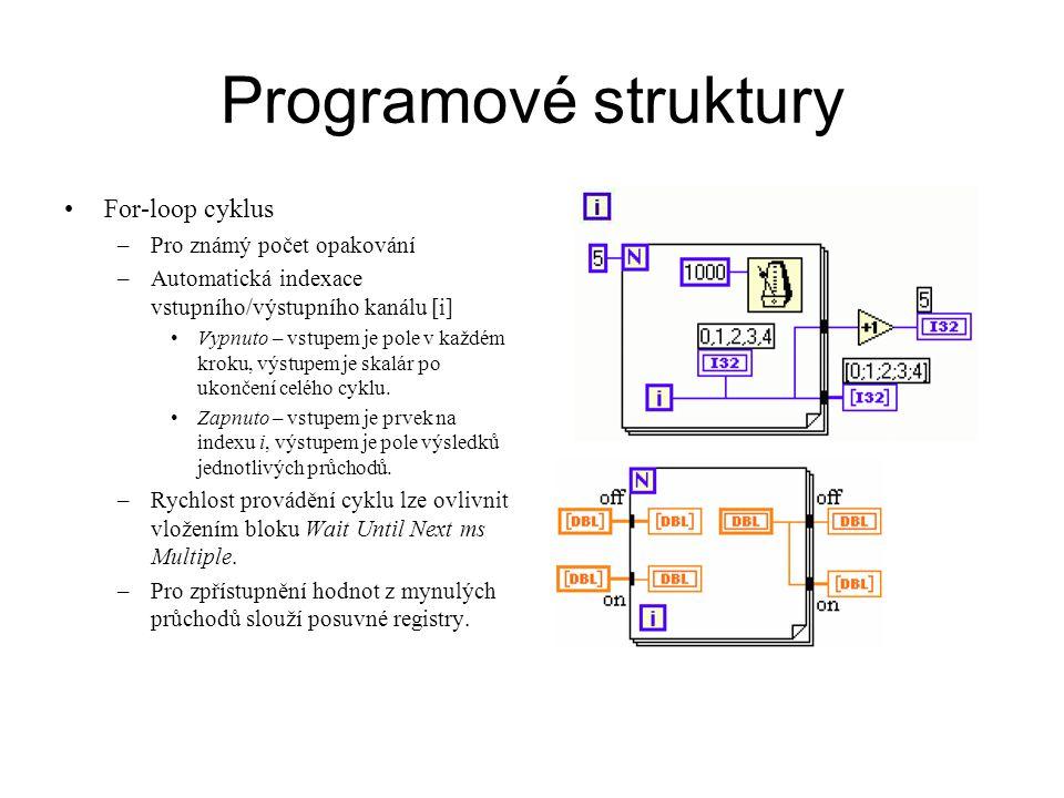 Programové struktury For-loop cyklus –Pro známý počet opakování –Automatická indexace vstupního/výstupního kanálu [i] Vypnuto – vstupem je pole v každ