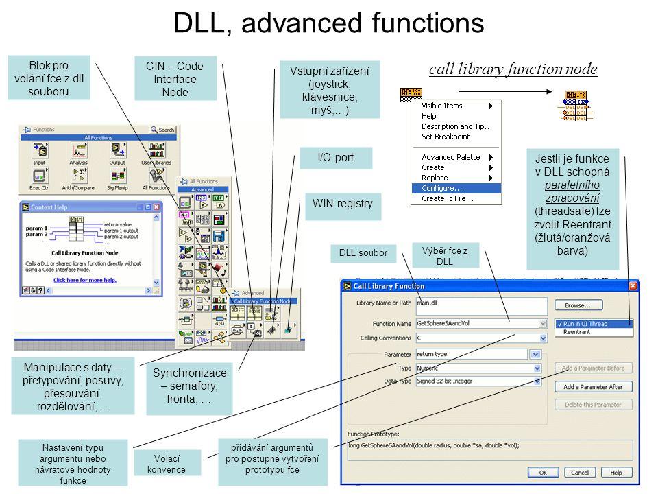 DLL, advanced functions Blok pro volání fce z dll souboru CIN – Code Interface Node Vstupní zařízení (joystick, klávesnice, myš,…) Manipulace s daty –