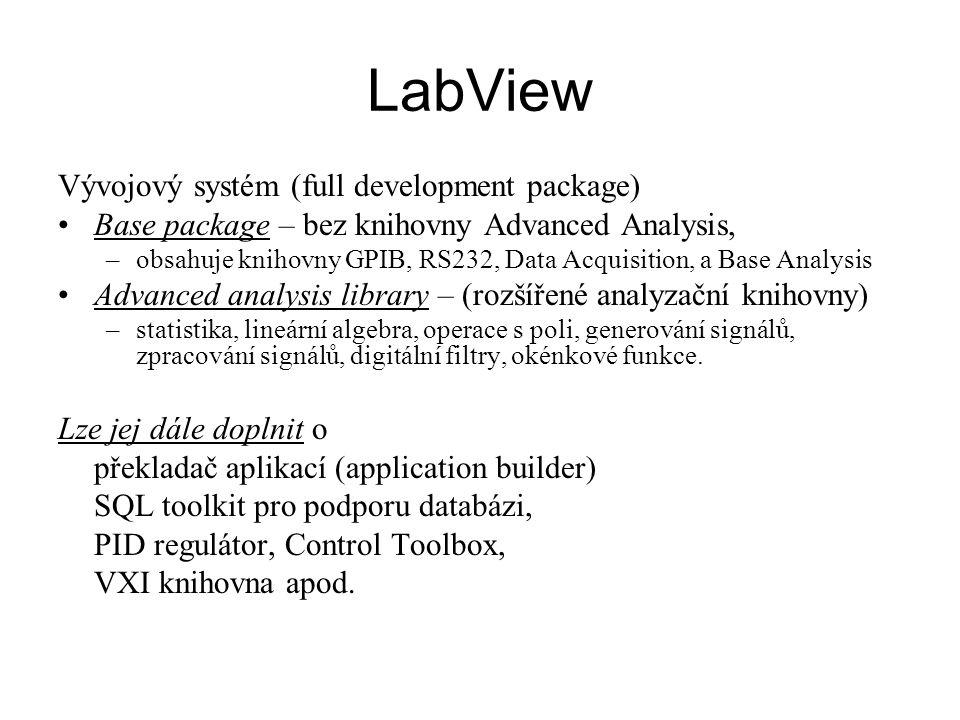 Program – virtuální nástroj (VI) programové struktury –sekvence (sequence) –přepínač (case) –cyklus FOR (for-loop) autoindexace vstupních a výstupních tunelů (možnost vypnutí) –cyklus WHILE pole (array), struktury (clucter) události (events) lokální, globální proměnné, konstanty matematický výraz polymorfizmus property subVi (vlastní, vnitřní) (soubory, I/O zařízení, filtry, mat.