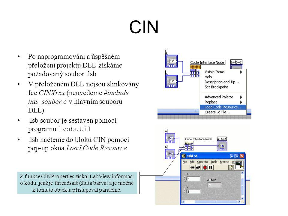 CIN Po naprogramování a úspěšném přeložení projektu DLL získáme požadovaný soubor.lsb V přeloženém DLL nejsou slinkovány fce CINXxxx (neuvedeme #inclu