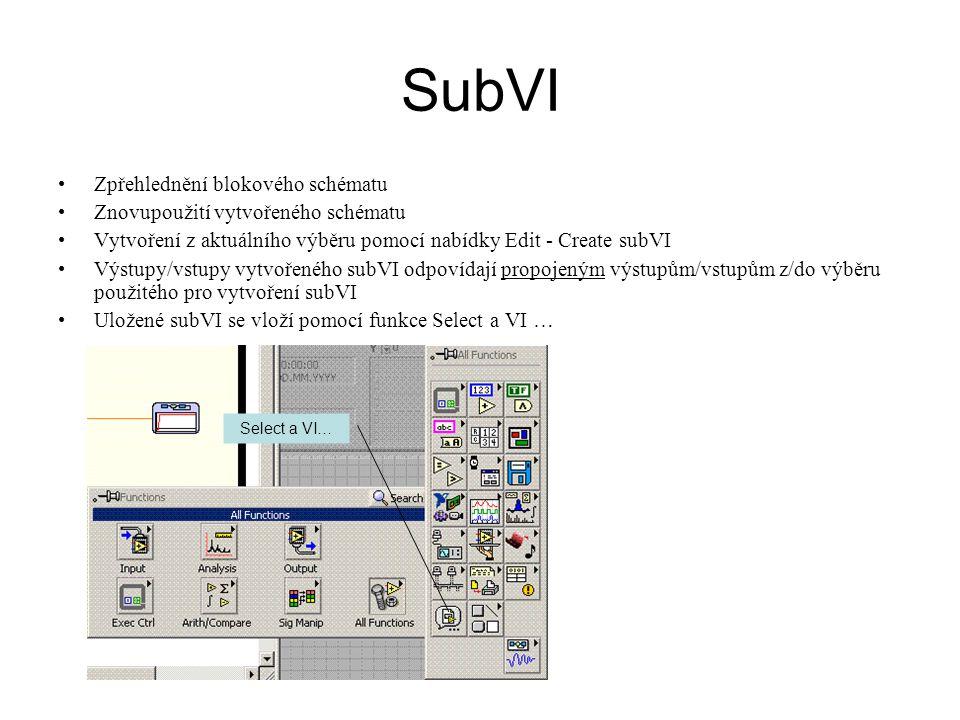 SubVI Zpřehlednění blokového schématu Znovupoužití vytvořeného schématu Vytvoření z aktuálního výběru pomocí nabídky Edit - Create subVI Výstupy/vstup