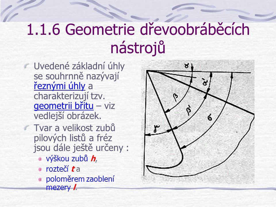 1.1.6 Geometrie dřevoobráběcích nástrojů Úhel hřbetu  je úhel, který svírá hřbet nástroje s rovinou řezu. Bez vztahu k obrobku se úhel  určuje jako