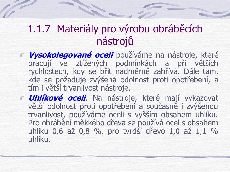 1.1.7 Materiály pro výrobu obráběcích nástrojů Pro výrobu obráběcích nástrojů se používají : A)různé druhy ocelí Nástrojová, Uhlíková, Nízkolegovaná,