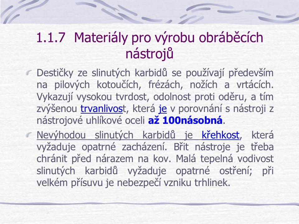 1.1.7 Materiály pro výrobu obráběcích nástrojů Destičky se na těle nástrojů připevňují zpravidla pájením pomocí elektrického odporového nebo indukčníh