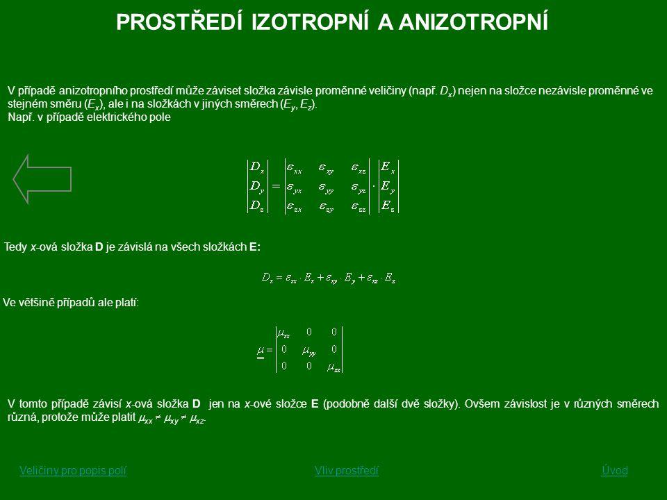 V případě anizotropního prostředí může záviset složka závisle proměnné veličiny (např. D x ) nejen na složce nezávisle proměnné ve stejném směru (E x