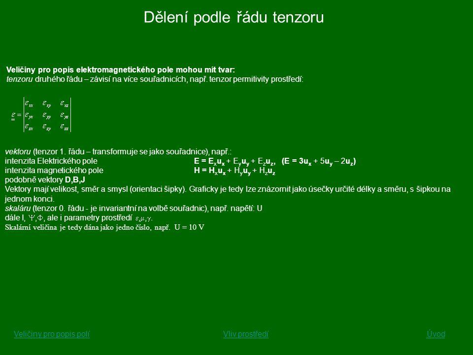 Veličiny pro popis elektromagnetického pole mohou mít tvar: tenzoru druhého řádu – závisí na více souřadnicích, např. tenzor permitivity prostředí: ve