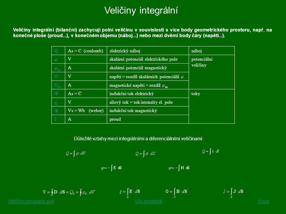 Veličiny diferenciální Veličiny diferenciální (veličiny měrné nebo také hustoty) popisují stav pole v jednom konkrétním bodě geometrického prostoru.