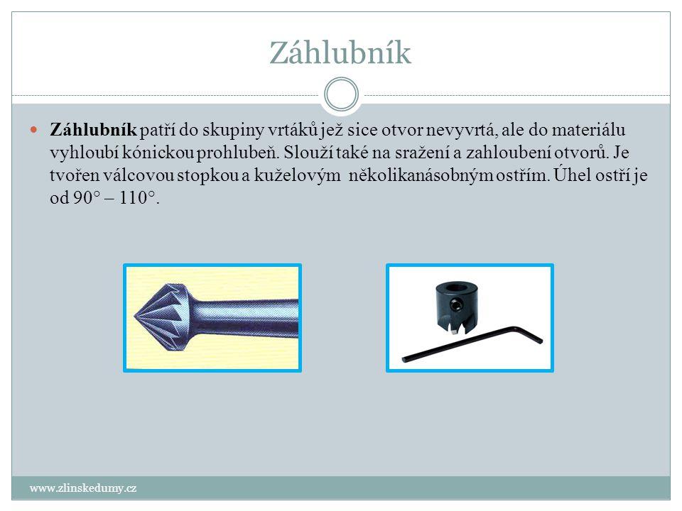 Záhlubník www.zlinskedumy.cz Záhlubník patří do skupiny vrtáků jež sice otvor nevyvrtá, ale do materiálu vyhloubí kónickou prohlubeň. Slouží také na s