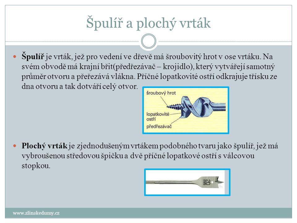 Špulíř a plochý vrták www.zlinskedumy.cz Špulíř je vrták, jež pro vedení ve dřevě má šroubovitý hrot v ose vrtáku. Na svém obvodě má krajní břit(předř