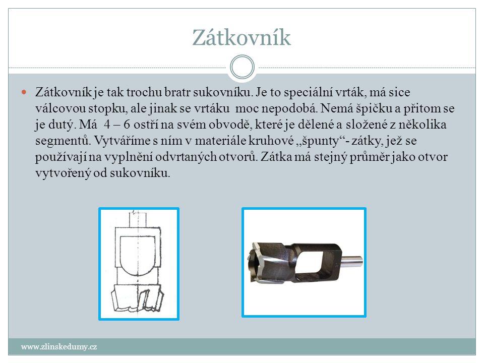 Zátkovník www.zlinskedumy.cz Zátkovník je tak trochu bratr sukovníku. Je to speciální vrták, má sice válcovou stopku, ale jinak se vrtáku moc nepodobá